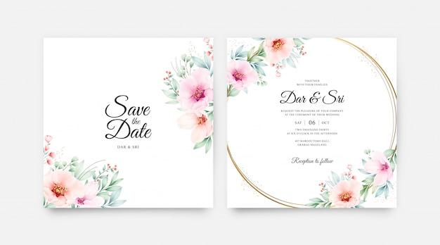美しい花の水彩画でロマンチックな結婚式の招待カード