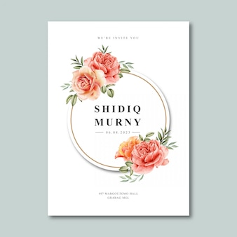 花輪フレーム水彩画と結婚式カードテンプレート