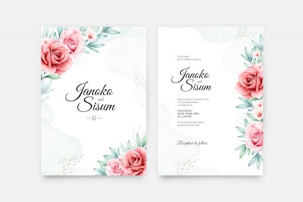 美しい花と葉の水彩画入りウェディングカード