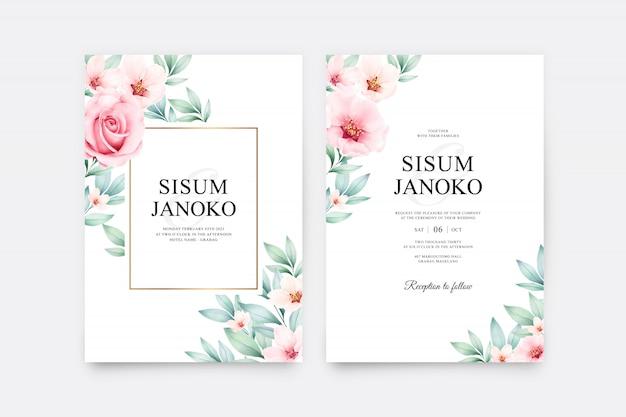 美しい花の水彩画の結婚式の招待状