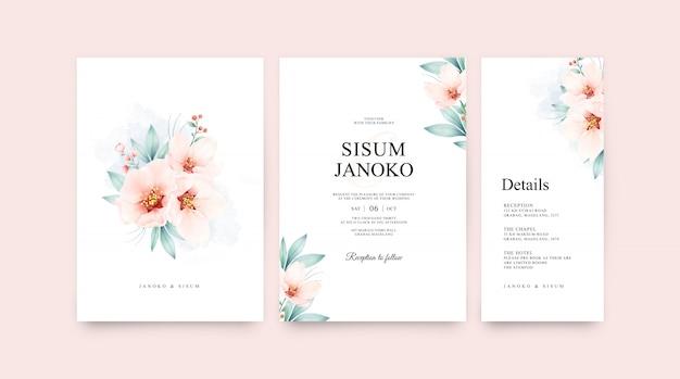 Цветочный букет акварель на свадебный пригласительный шаблон