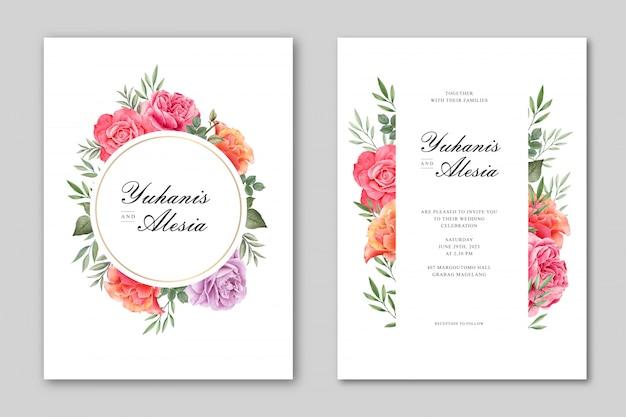 美しい結婚式カード花フレームテンプレート