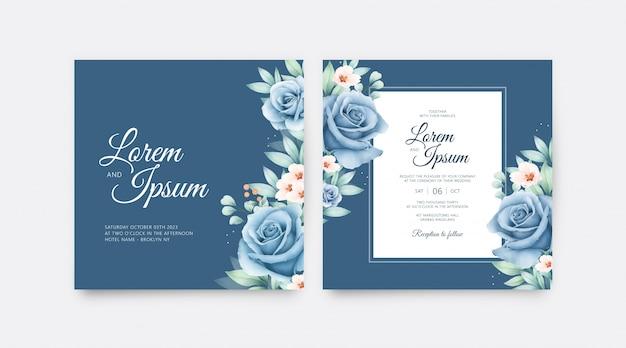 花と葉の水彩画と美しい結婚式の招待カードテンプレート