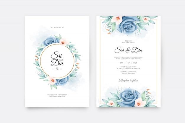 結婚式の招待カードは、バラの青い水彩画とテンプレートを設定