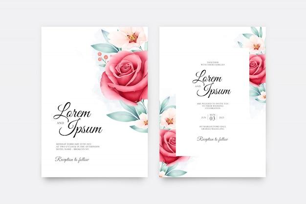 結婚式招待状は、美しいバラの花の水彩画とテンプレートを設定