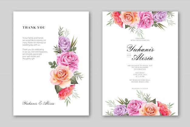 花のフレームの水彩画と美しい結婚式の招待カード