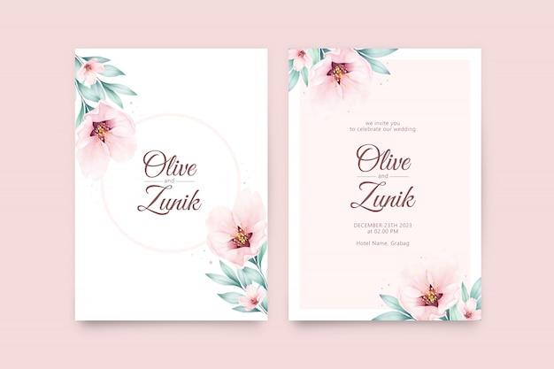 花と葉の水彩画と美しい結婚式カードテンプレート