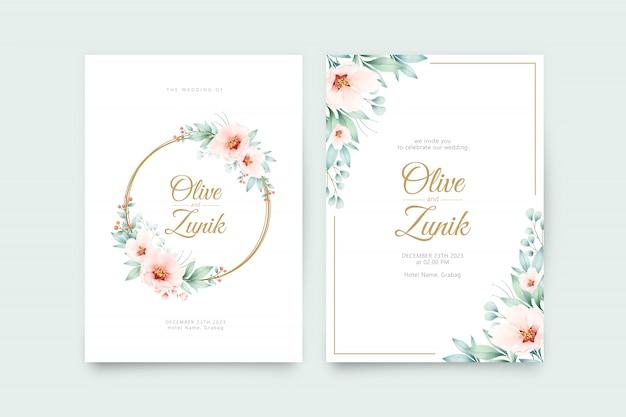 Шаблон свадебного приглашения с красивым венком цветочной акварелью