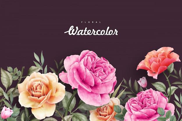 美しい野生の花の水彩画の背景