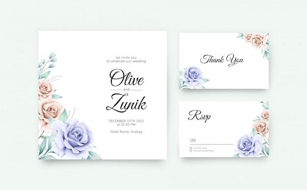 結婚式の招待状は、美しい花と葉の水彩画とテンプレートを設定