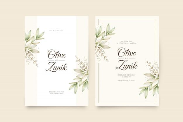 葉の水彩画でエレガントな結婚式の招待状のテンプレート