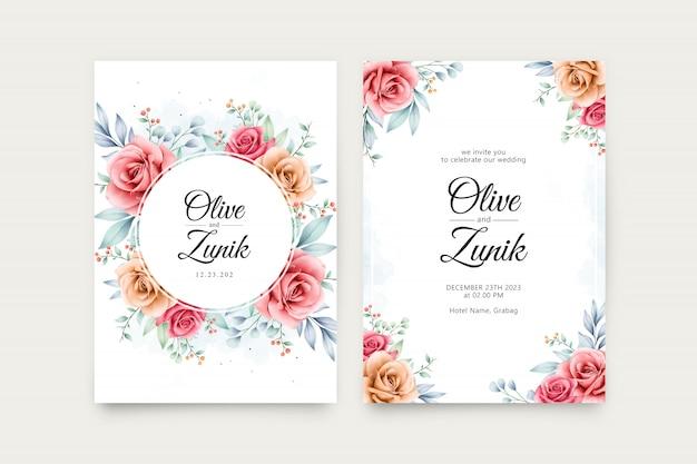 結婚式招待状の美しい花の水彩画セットテンプレート