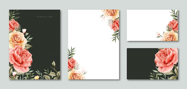空白のテンプレート結婚式招待状とカードの花の水彩画