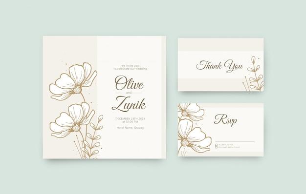 手描きの花のウェディングカードセットテンプレート