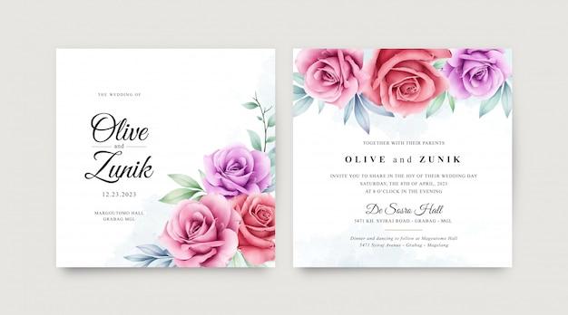 結婚式のカードは、カラフルな花の水彩画とテンプレートを設定