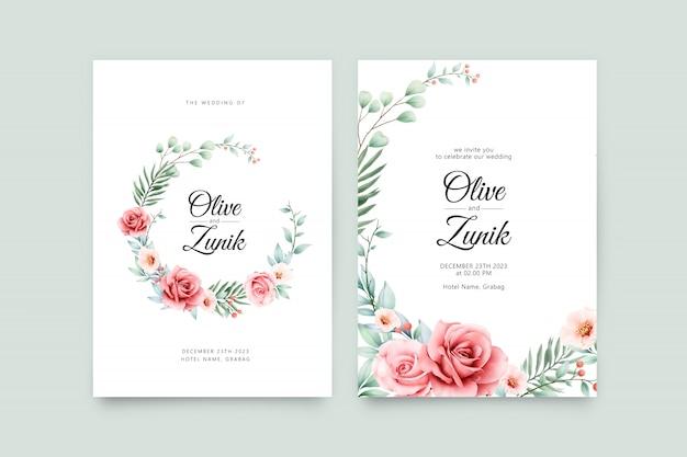 結婚式の招待状のテンプレートに花輪の花の水彩画