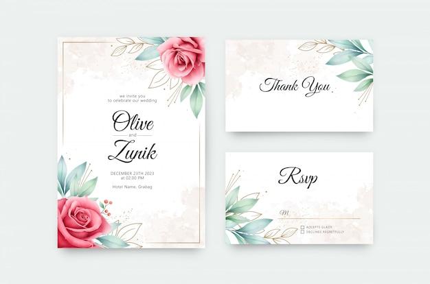 Свадебный набор шаблонов с акварельными цветами