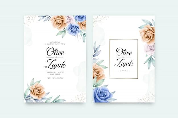カラフルな花の水彩画のウェディングカードテンプレート