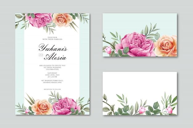 花と葉を持つ結婚式カードテンプレート