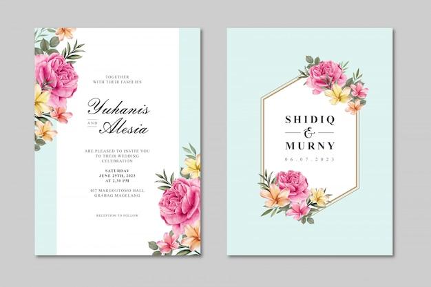 カラフルなバラの花を持つ美しい結婚式カードテンプレート