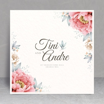 エレガントな花のフレームのウェディングカードのテーマ