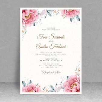 花のフレームの水彩画とエレガントなウェディングカードのテーマ