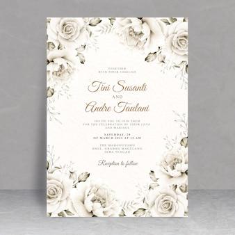 花の水彩画とエレガントなウェディングカードのテーマ