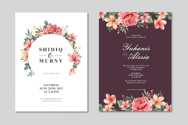 花の水彩画と美しい結婚式カードテンプレート