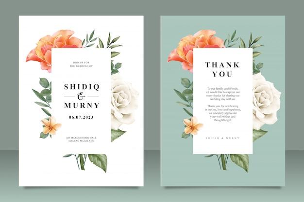 花のフレームマルチ目的で美しい結婚式カードテンプレート