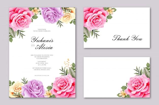 カラフルなバラの花と美しいウェディングカード