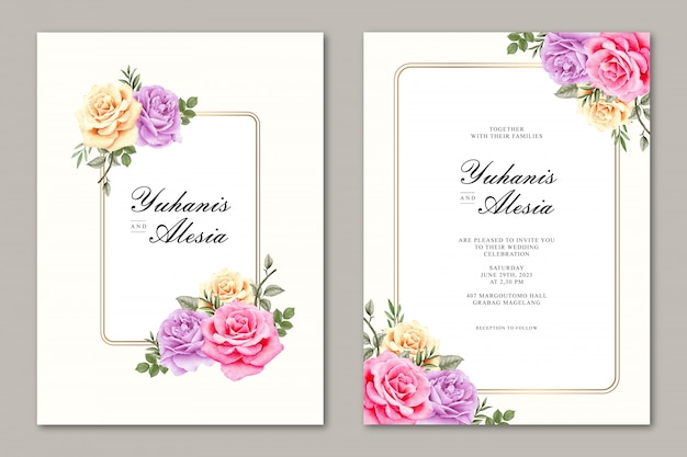 バラの花入りのエレガントな水彩ウェディングカード