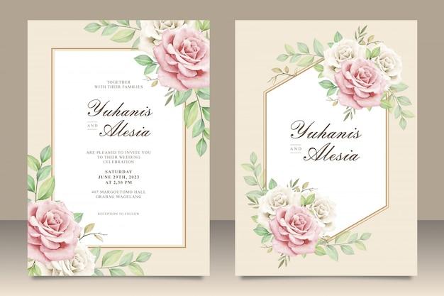 花の花束とエレガントな結婚式の招待カード