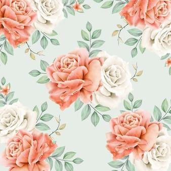 アクアレル牡丹の花のかわいいシームレスパターン