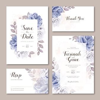 バラの水彩画でかわいい結婚式招待状カードのテンプレート