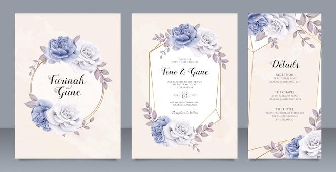 エレガントな牡丹の花の結婚式の招待カードセットテンプレートデザイン