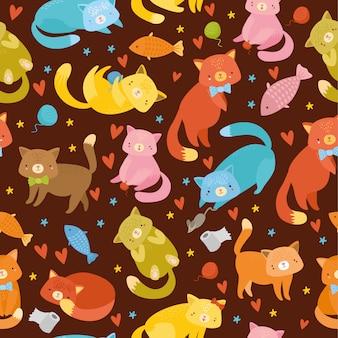 マルチカラーのネコとシームレスなパターン