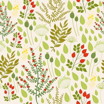 ローズヒップと植物要素によるシームレスなパターン