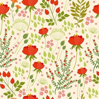 野生の花、赤い羊のシームレスなパターン