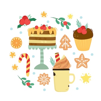 スイートセット。クリスマスケーキ、温かいココア、おいしいコーヒー、ジンジャーブレッドクッキー