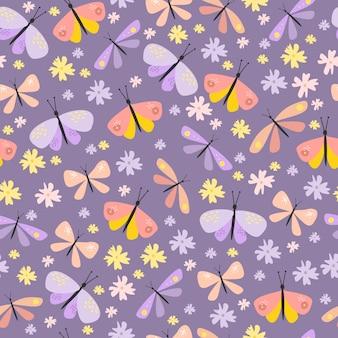 蝶とカブトムシとのシームレスなパターンベクトル