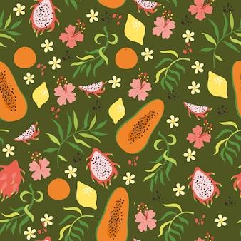 柑橘類、パパイヤ、ドラゴンフルーツと熱帯のシームレスなパターン