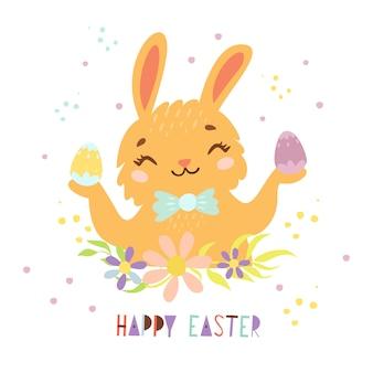 Милый пасхальный кролик с крашеными яйцами