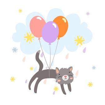 Милый кот на воздушных шарах в небе