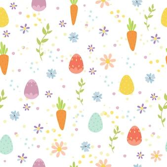 卵とニンジンとイースターのシームレスパターン