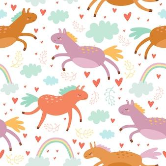 色の馬とパステルのシームレスパターン
