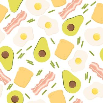 Бесшовный фон с авокадо и яйцами