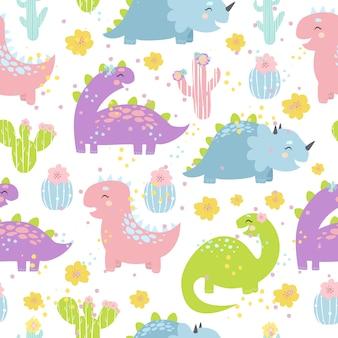 Бесшовный узор из пастельных динозавров