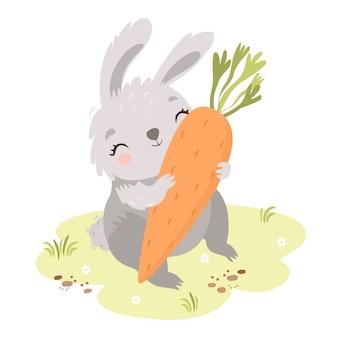 Милый зайчик на лугу с морковкой