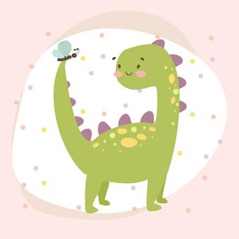 手描きの恐竜と蝶のイラスト