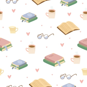お茶と本の居心地の良いパターン